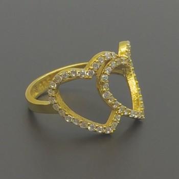 Ασημένιο επίχρυσο δαχτυλίδι καρδιές