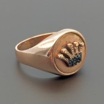 Ασημένιο επίχρυσο δαχτυλίδι σεβαλιέ