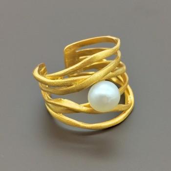 Ασημένιο επίχρυσο δαχτυλίδι