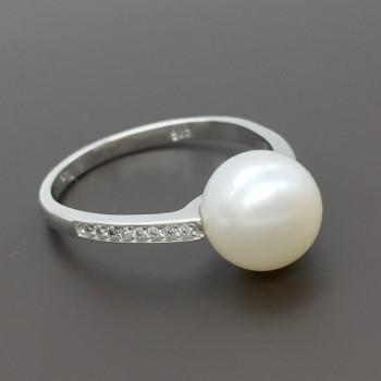 Λευκόχρυσο δαχτυλίδι με μαργαριτάρι