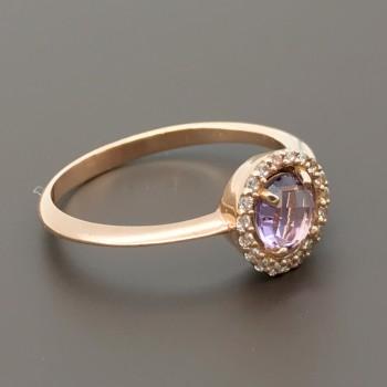 Δαχτυλίδι ροζ χρυσό με Ροζ Ζιργκόν
