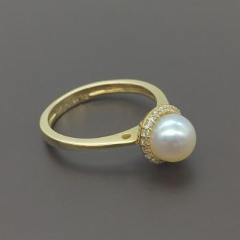 Χρυσό δαχτυλιδι με μαργαριτάρι 14Κ