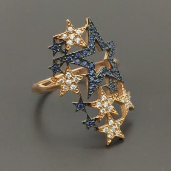 Ροζ χρυσό δαχτυλίδι αστέρια πυροτέχνημα