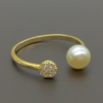 Δαχτυλίδι σεβαλιέ με μαργαριτάρι