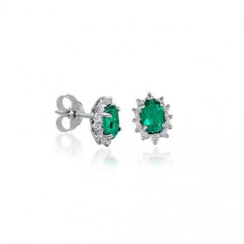 Σκουλαρίκια BOVO με πράσινα ζιργκόν