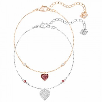 Swarovski Crystal Wishes Heart Bracelet Set, Red 5272249
