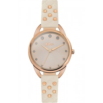 Lee Cooper Crystals Rose Gold White Leather Strap LC06388.475