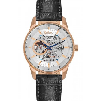 Lee Cooper Automatic Rose Gold Black Leather Strap LC06423.431