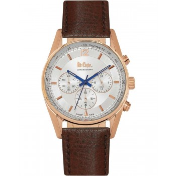 Lee Cooper Chronograph Rose Gold Brown Leather Strap LC06415.432