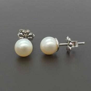 Λευκόχρυσα σκουλαρίκια με μαργαριτάρια