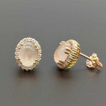 Σκουλαρίκια ροζ χρυσό με smoke quartz
