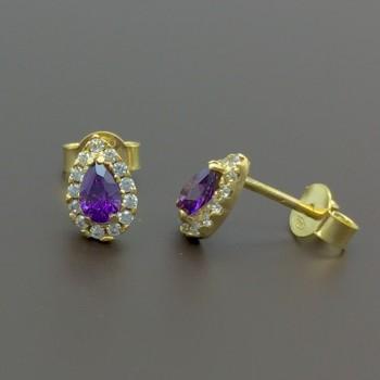 Χρυσά σκουλαρίκια με αμέθυστο