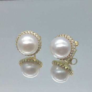 Χρυσά σκουλαρίκια μαργαριτάρια