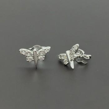 Λευκόχρυσα σκουλαρίκια πεταλούδες