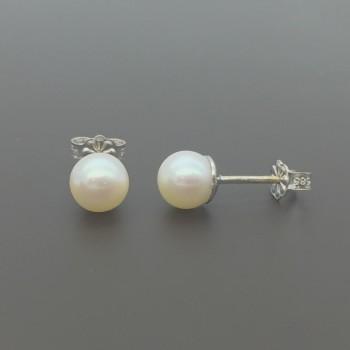 Λευκόχρυσα σκουλαρίκια μαργαριτάρια