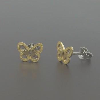 Δίχρωμα σκουλαρίκια πεταλούδες