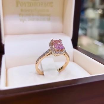 Χρυσό Δαχτυλίδι με ροζ πέτρα