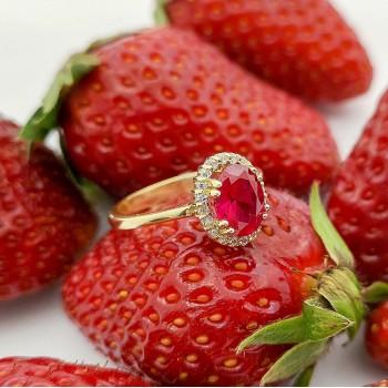 Χρυσό Δαχτυλίδι με κόκκινη πέτρα
