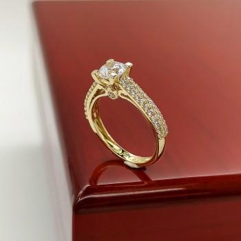 Χρυσό μονόπετρο Δαχτυλίδι FaCaDoro