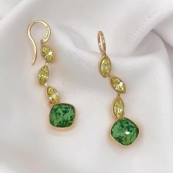 Σκουλαρίκια με πράσινη πέτρα Rebecca
