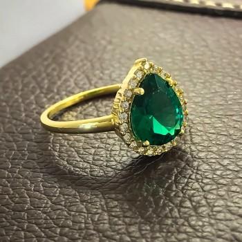 Χρυσό Δαχτυλίδι με πράσινη πέτρα