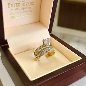 Χρυσό Μονόπετρο Δαχτυλίδι