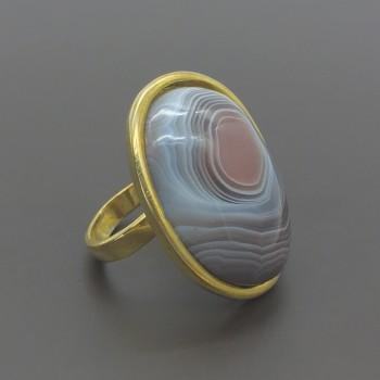 Ασημένιο επίχρυσο δαχτυλίδι με αχάτη