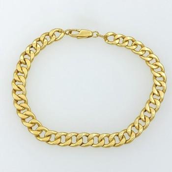 Κλασικό βραχιόλι cuban chain χρυσό 14 καράτια, Χρυσή αλυσίδα