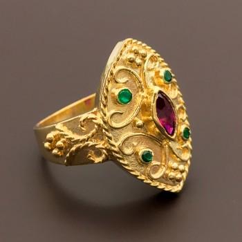 Βυζαντινό χειροποίητο δαχτυλίδι 14Κ