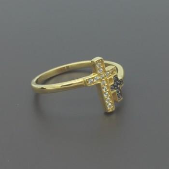 Χρυσό δαχτυλίδι με Σταυρό