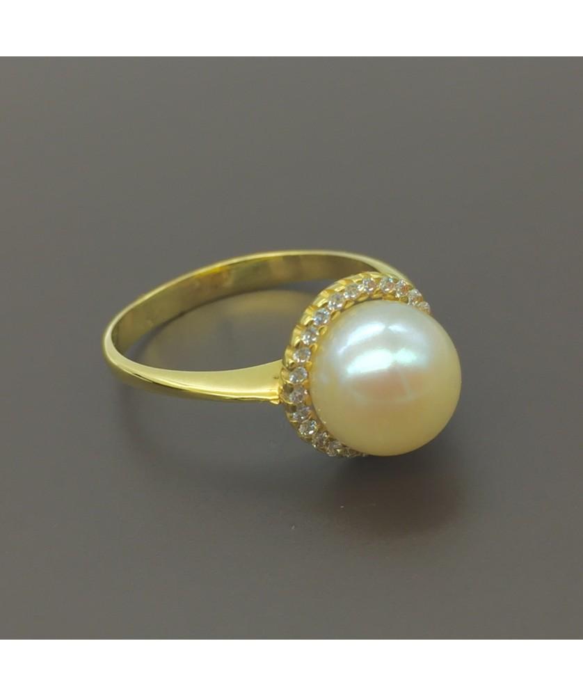 Χρυσό δαχτυλίδι με μαργαριτάρι και λευκά ζιργκόν 14Κ fc48ee420de