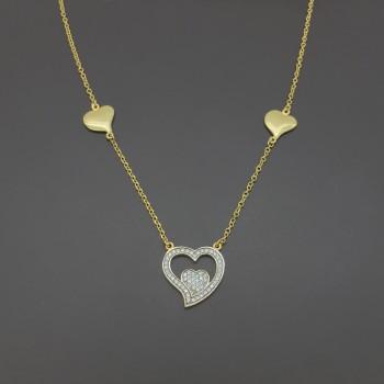 Χρυσό κολιέ με καρδιές 14Κ