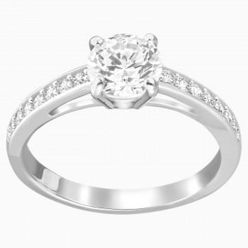 Swarovski Attract Round, Λευκό, Επιροδιωμένο, 5032923 δαχτυλίδι Swarovski, ποικιλία σχεδίων, τιμές, προσφορές