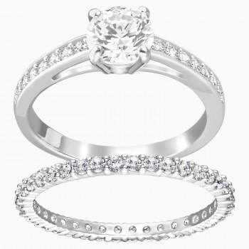 Swarovski Attract Set, Λευκό, Επιροδιωμένο, 5184981 δαχτυλίδι Swarovski, ποικιλία σχεδίων, τιμές, προσφορές