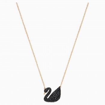 Swarovski Iconic Swan, Μαύρο, Επιχρυσωμένο σε Ροζ Χρυσαφί Απόχρωση, 5204134 κολιέ Swarovski, τιμές, ποικιλία σχεδίων, προσφορές
