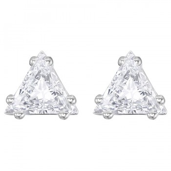Swarovski Attract Triangle Stud Pierced Earrings, White, Rhodium Plating 5274074
