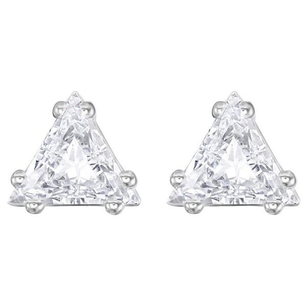 Swarovski Attract Triangle Stud Pierced Earrings, White, Rhodium Plating 5274074