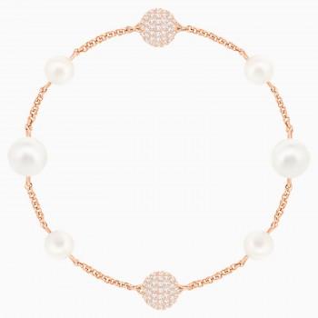 Swarovski Round Pearl Remix Collection, Λευκό, Επιχρυσωμένο σε ροζ χρυσαφί απόχρωση, 5365738 κοσμήματα, βραχιόλι Swarovski , τιμές, ποικιλία σχεδίων, προσφορές