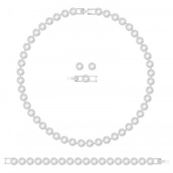Swarovski Σετ Angelic, Λευκό, Επιροδιωμένο, 5367853 κολιέ Swarovski, τιμές, ποικιλία σχεδίων, προσφορές