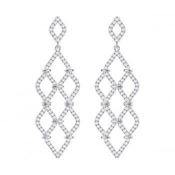 Swarovski Lace Chandelier Pierced Earrings, White, Rhodium Plating 5382358