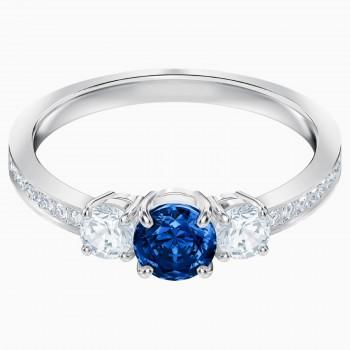 Swarovski Attract Trilogy Round, Μπλε, Επιροδιωμένο, 5448831 δαχτυλίδι Swarovski, ποικιλία σχεδίων, τιμές, προσφορές