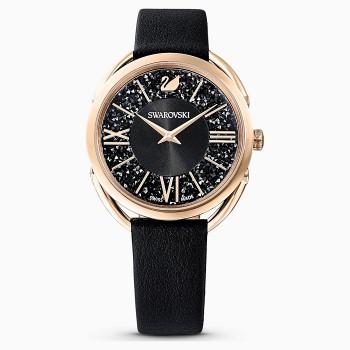 Swarovski Crystalline Glam, Leather Strap, Black, Rose-Gold, 5452452, ρολόι SWAROVSKI, τιμές, ποικιλία σχεδίων, προσφορές