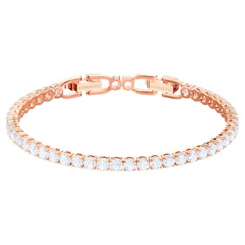 Swarovski Tennis Deluxe, Λευκό, Επιχρυσωμένο σε Ροζ Χρυσαφί απόχρωση, 5464948 κοσμήματα, βραχιόλι Swarovski , τιμές, ποικιλία σχεδίων, προσφορές