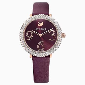 Swarovski Crystal Frost, Leather Strap, Dark Red, Rose-Gold PVD, 5484064, ρολόι SWAROVSKI, τιμές, ποικιλία σχεδίων, προσφορές