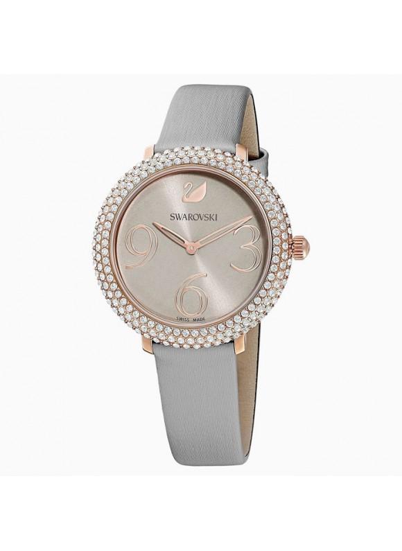 Swarovski Crystal Frost, Leather Strap, Gray, Rose-Gold PVD, 5484067 ρολόι SWAROVSKI, τιμές, ποικιλία σχεδίων, προσφορές