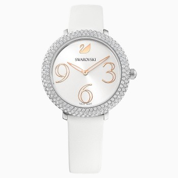 Swarovski Crystal Frost, Leather Strap, White, Stainless Steel, 5484070 ρολόι SWAROVSKI, τιμές, ποικιλία σχεδίων, προσφορές