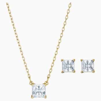 Swarovski Attract Set, White, Gold-Tone, 5510683 κολιέ και σκουλαρίκια Swarovski, καρδιά, τιμές, ποικιλία σχεδίων, προσφορές