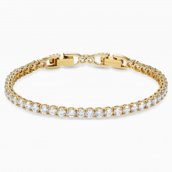 Swarovski Tennis Deluxe, Λευκό, Επιχρυσωμένο, 5511544 κοσμήματα, βραχιόλι Swarovski , τιμές, ποικιλία σχεδίων, προσφορές