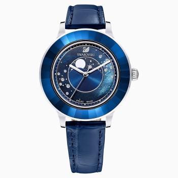 Swarovski Octea Lux Moon, Leather Strap, Dark Blue, Stainless Steel, 5516305, ρολόι SWAROVSKI, τιμές, ποικιλία σχεδίων, προσφορές
