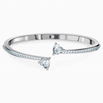 Swarovski Attract Soul Heart Bangle, Λευκό, Επιροδιωμένο, 5518814 κοσμήματα, βραχιόλι Swarovski , τιμές, ποικιλία σχεδίων, προσφορές
